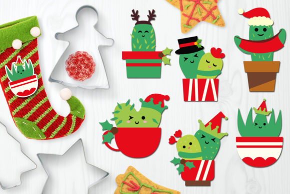 Download Free Christmas Cactus Graphic By Darrakadisha Creative Fabrica for Cricut Explore, Silhouette and other cutting machines.