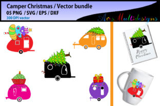 Download Free Christmas Camper Graphic By Arcs Multidesigns Creative Fabrica for Cricut Explore, Silhouette and other cutting machines.