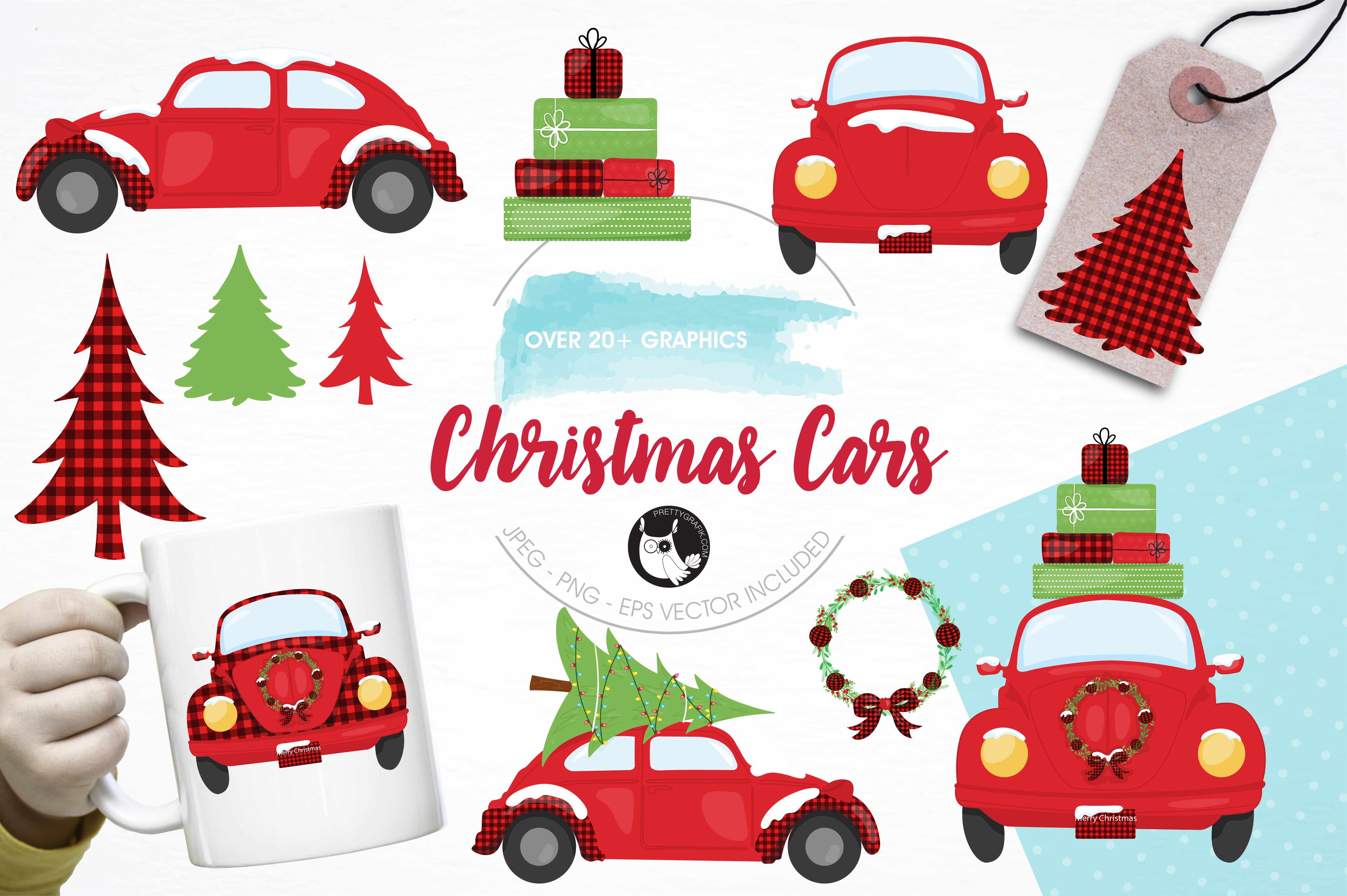 Download Free Christmas Cars Clipart Set Graphic By Prettygrafik Creative for Cricut Explore, Silhouette and other cutting machines.