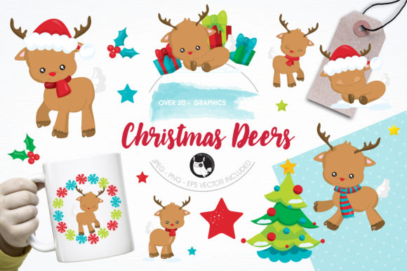 Print on Demand: Christmas Deers Clipart Set Graphic Illustrations By Prettygrafik - Image 1