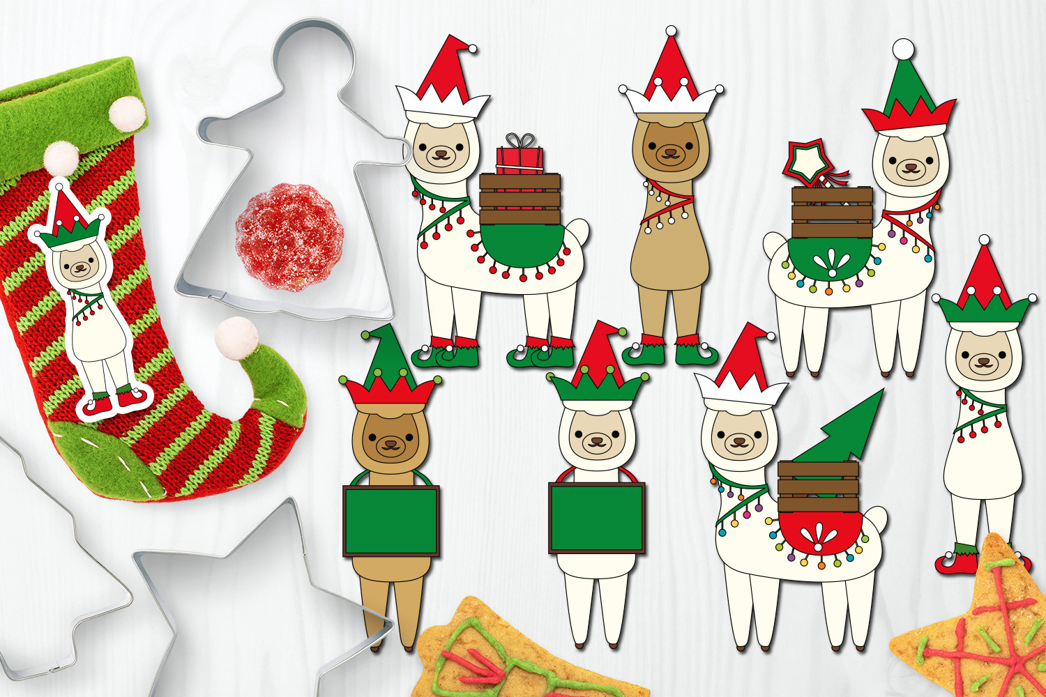 Download Free Christmas Elf Llamas Graphic By Darrakadisha Creative Fabrica for Cricut Explore, Silhouette and other cutting machines.