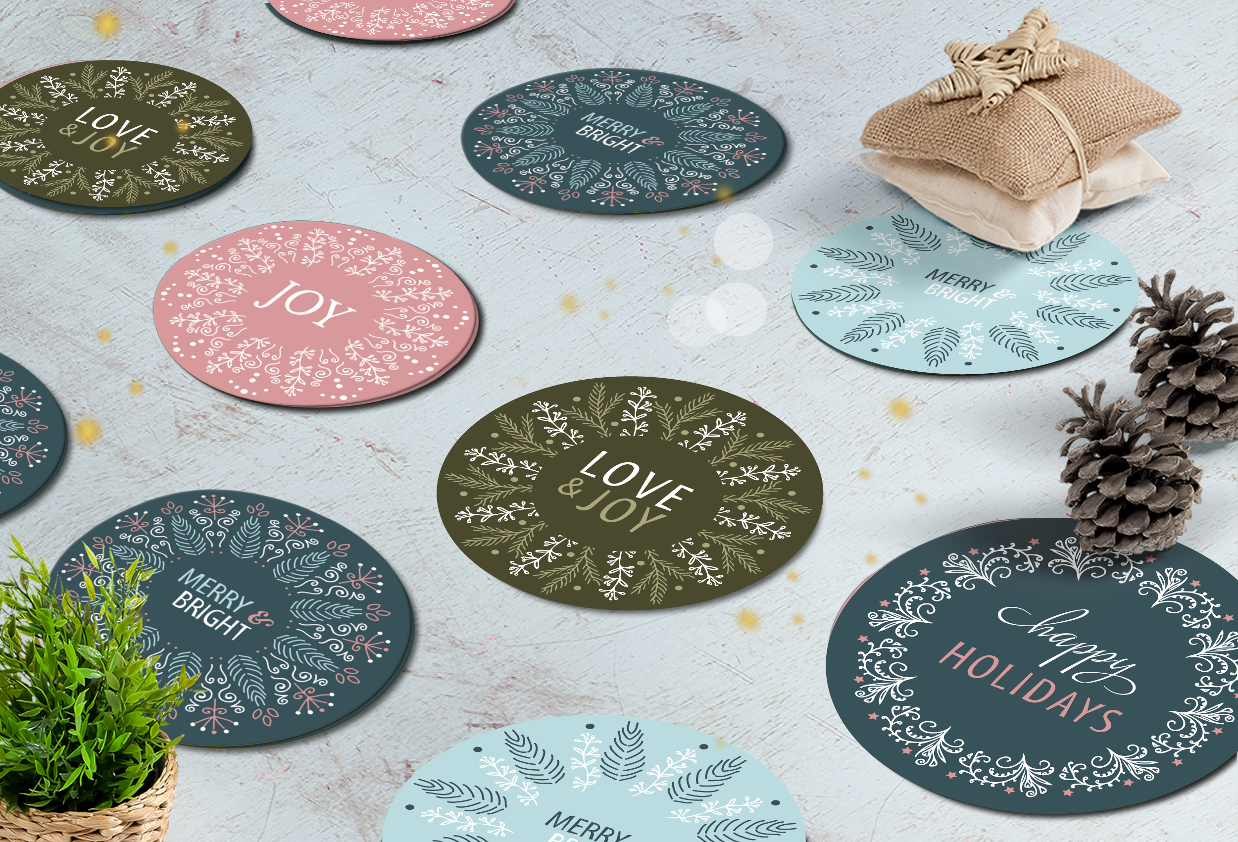 Download Free Christmas Gift Round Stickers Graphic By Raya0706 Creative Fabrica for Cricut Explore, Silhouette and other cutting machines.