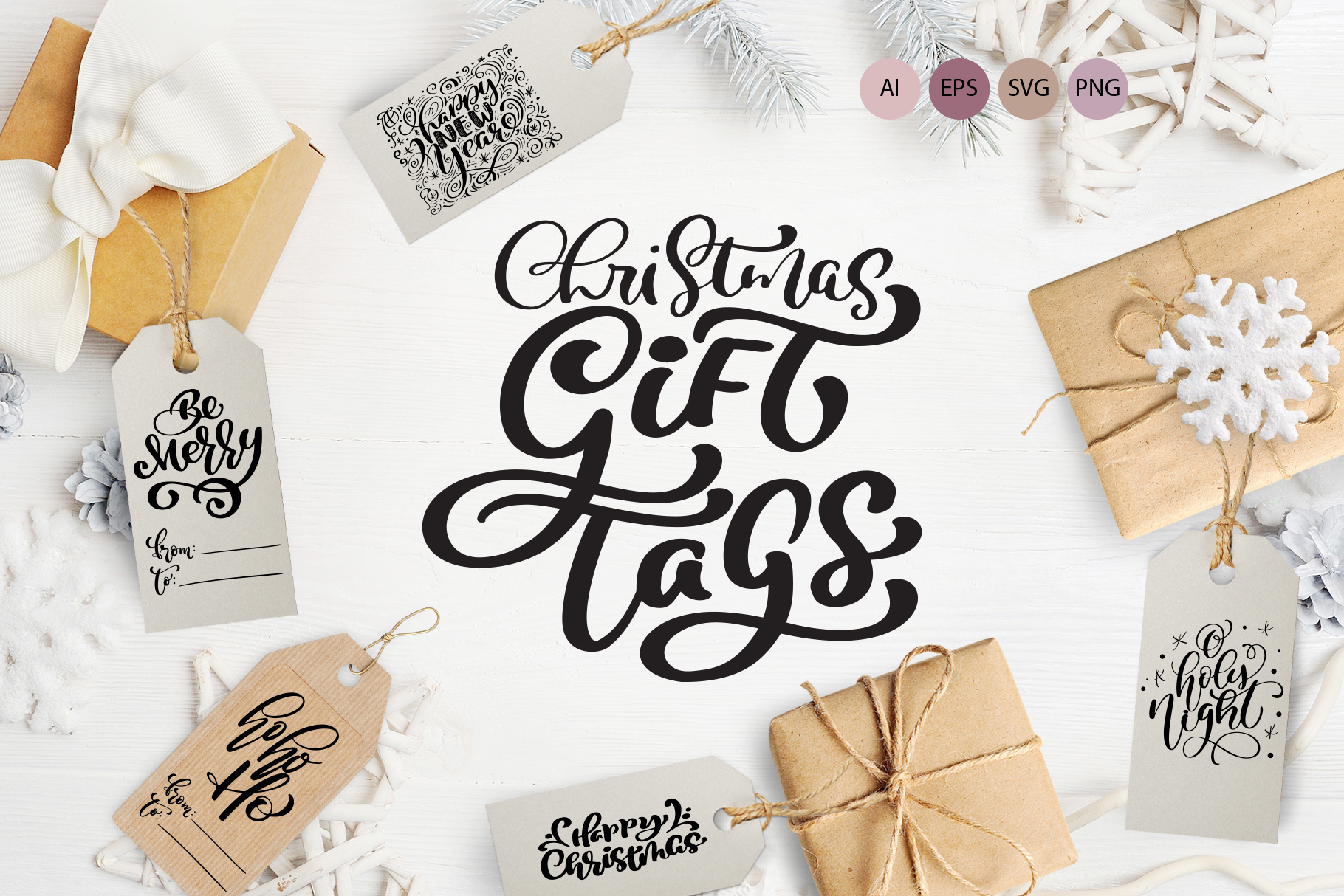 Download Free Christmas Gift Tags Graphic By Happy Letters Creative Fabrica for Cricut Explore, Silhouette and other cutting machines.