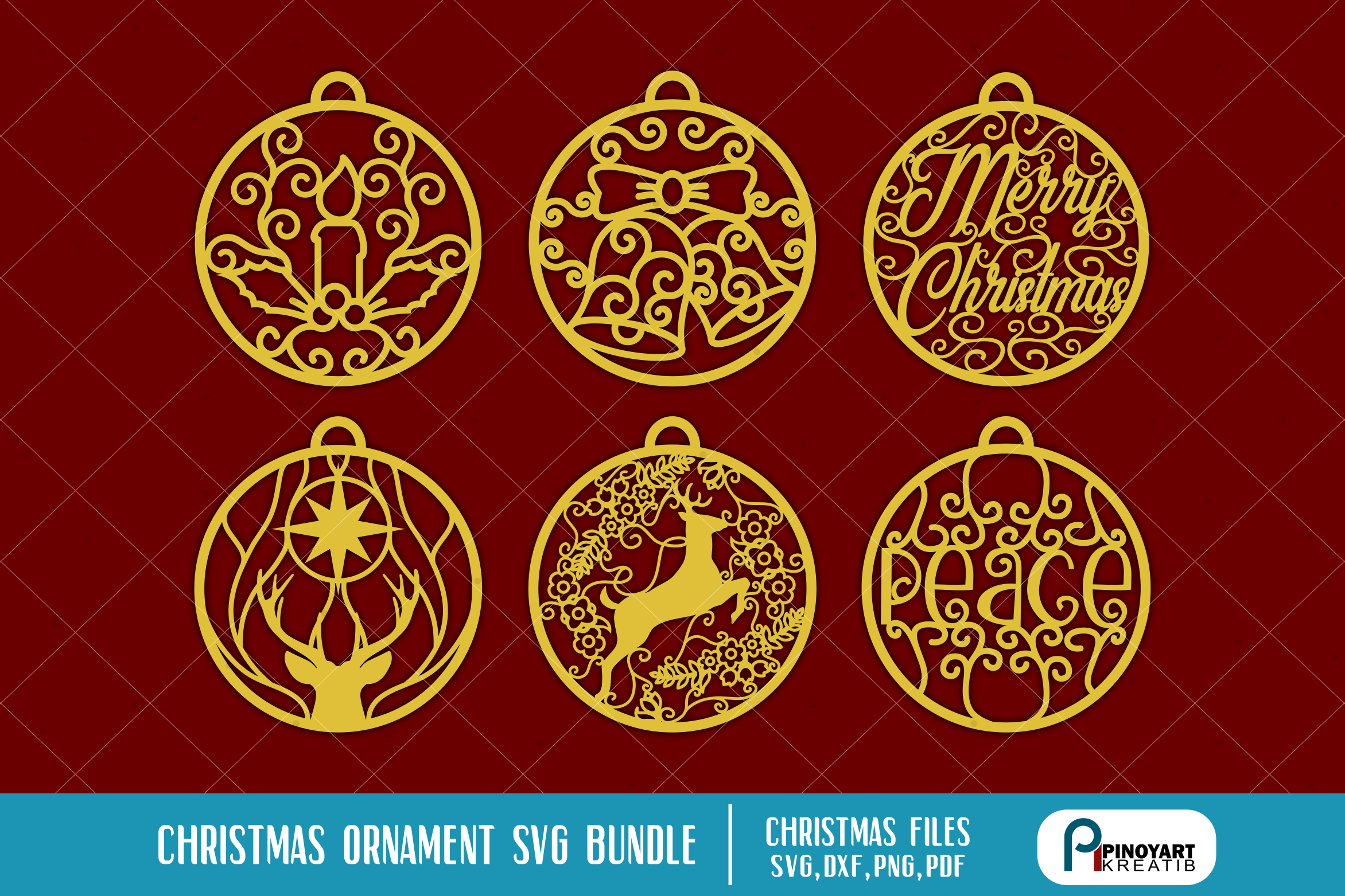 Download Free Christmas Ornaments Bundle Graphic By Pinoyartkreatib Creative for Cricut Explore, Silhouette and other cutting machines.