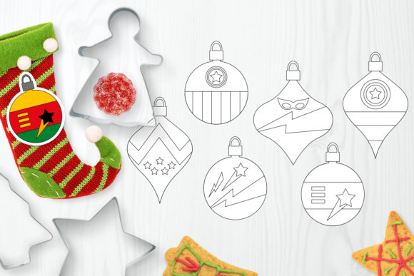 Download Free Christmas Ornaments Superhero Graphic By Darrakadisha Creative for Cricut Explore, Silhouette and other cutting machines.