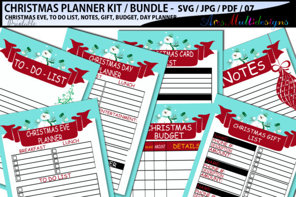 Print on Demand: Christmas Planner Grafik Druck-Templates von Arcs Multidesigns