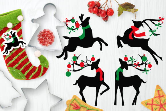 Download Free Christmas Reindeer Silhouette Graphic By Darrakadisha Creative for Cricut Explore, Silhouette and other cutting machines.