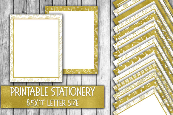 Download Free Christmas Stationery Shiny Gold Foil Digital Paper Graphic By for Cricut Explore, Silhouette and other cutting machines.