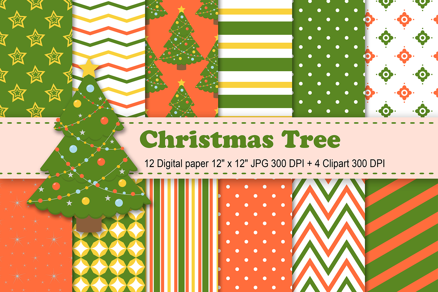 Download Free Christmas Tree Digital Paper Graphic By Cosmosfineart Creative for Cricut Explore, Silhouette and other cutting machines.