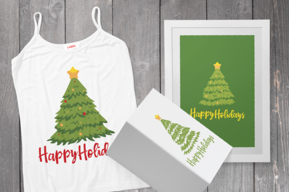 Download Free Christmas Tree Happy Holidays Svg Cut Files Graphic By Duka for Cricut Explore, Silhouette and other cutting machines.