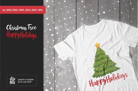 Print on Demand: Christmas Tree, Happy Holidays SVG Cut Files Graphic Crafts By duka