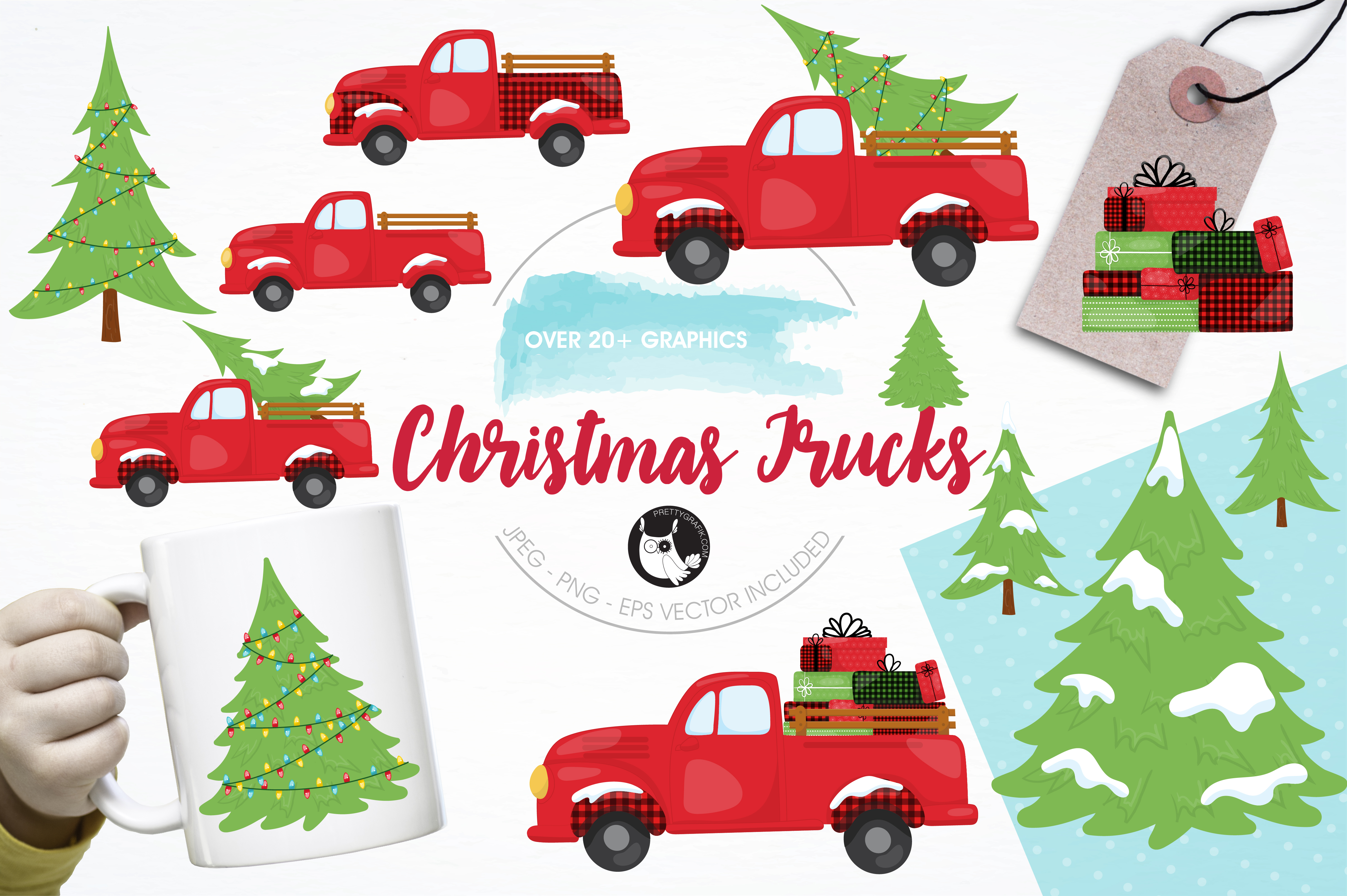 Download Free Christmas Trucks Clipart Set Graphic By Prettygrafik Creative for Cricut Explore, Silhouette and other cutting machines.