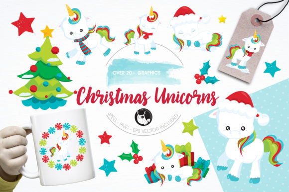 Print on Demand: Christmas Unicorns Clipart Set Grafik Illustrationen von Prettygrafik