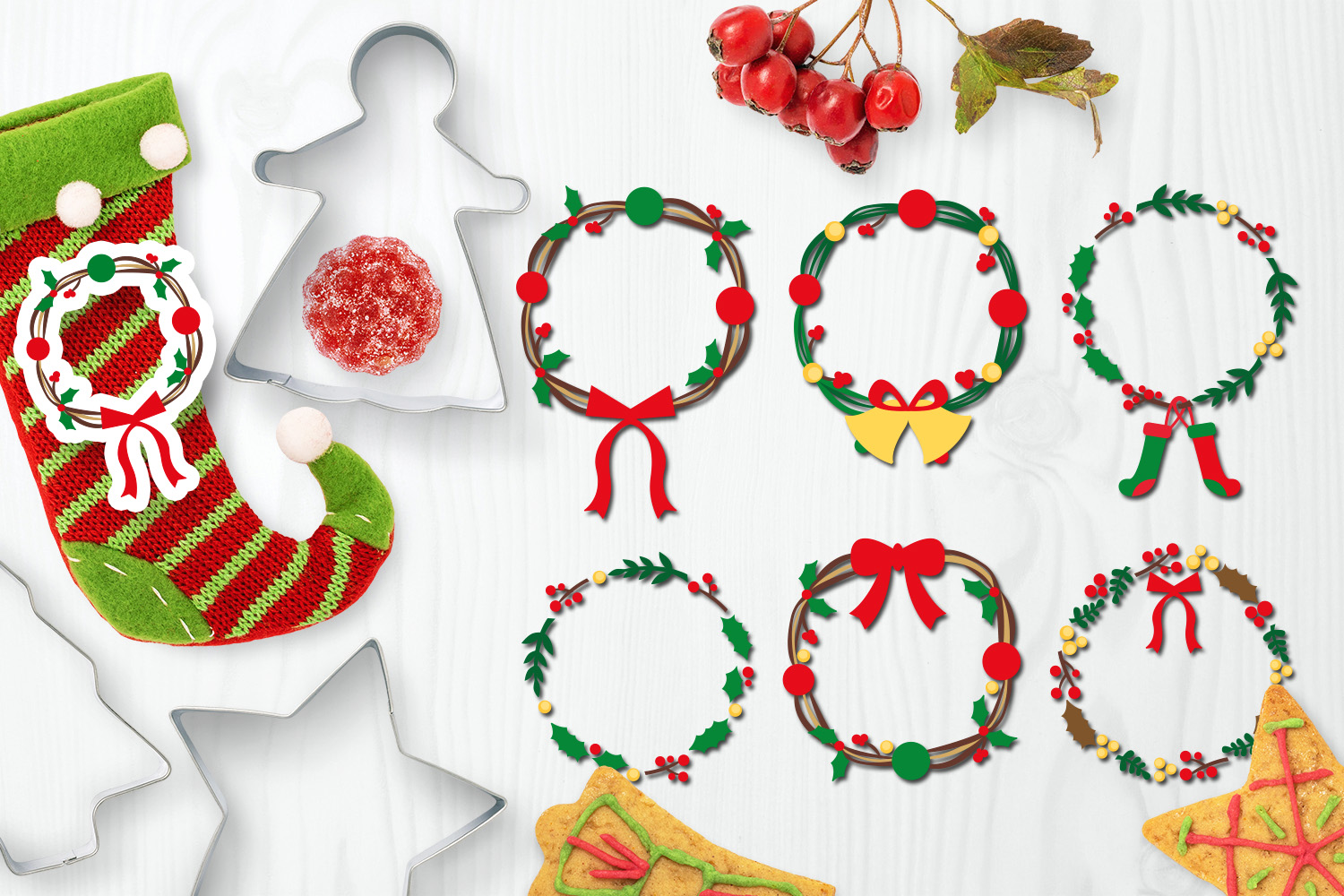 Download Free Christmas Wreath Graphic By Darrakadisha Creative Fabrica for Cricut Explore, Silhouette and other cutting machines.