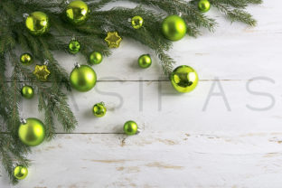 Download Free Christmas Background Decorated With Green Bauble Hanging Graphic for Cricut Explore, Silhouette and other cutting machines.