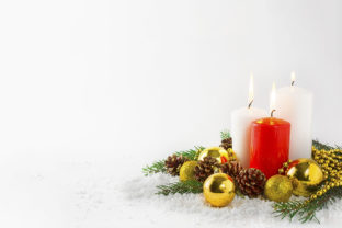 Print on Demand: Christmas Background with Burning Candles in Snow Graphic Holidays By TasiPas
