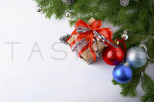 Download Free Christmas Background With Gift Box And Multicolored Ornaments SVG Cut Files