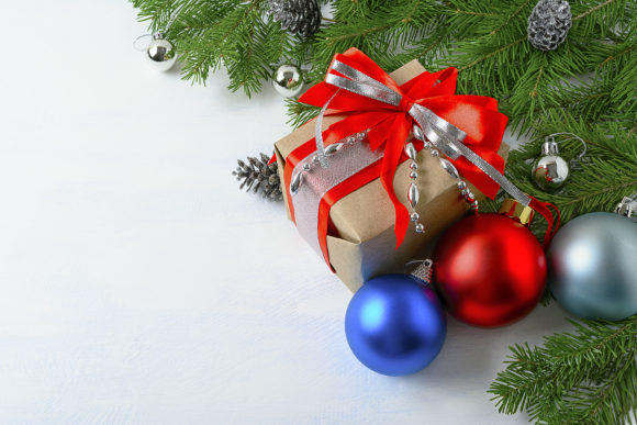 Christmas Background with Gift Box, Blue and Red Ornaments Graphic By TasiPas