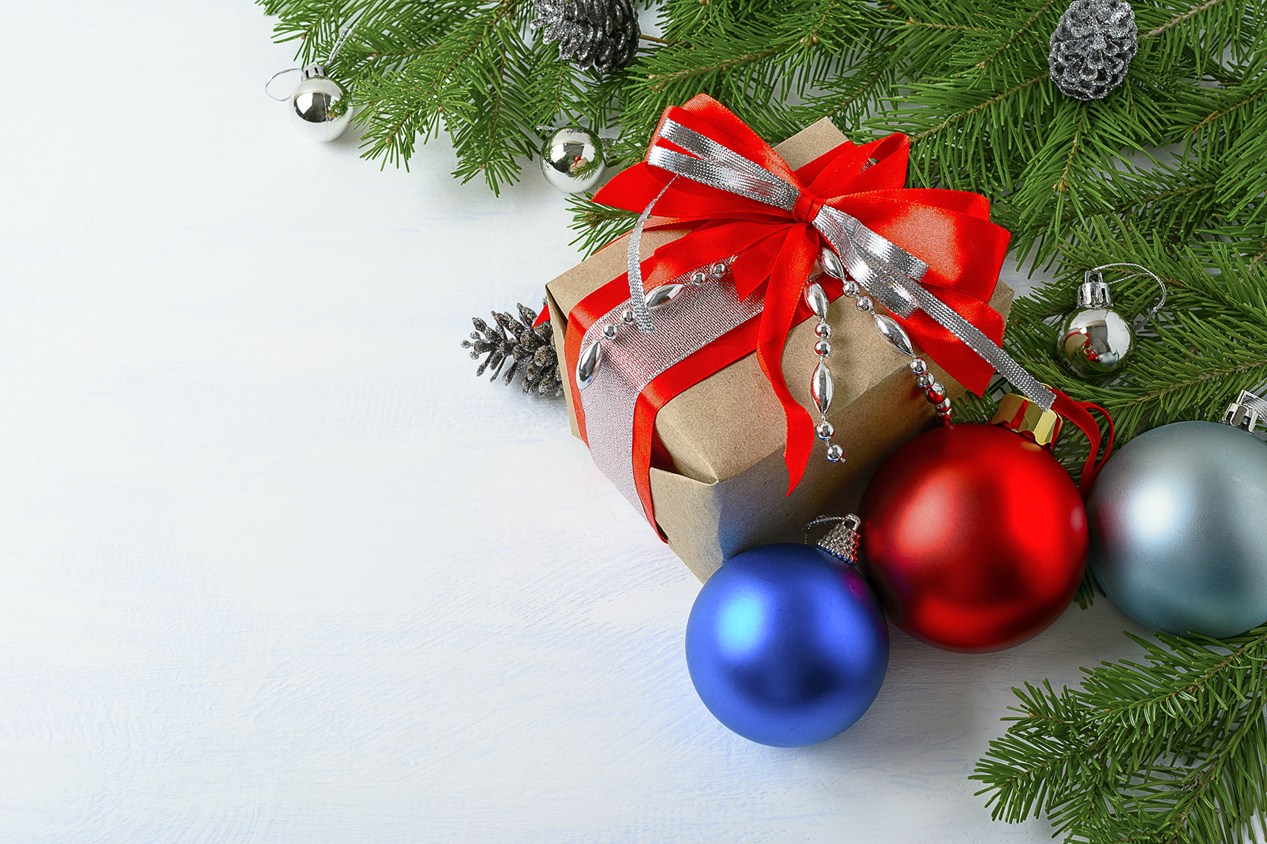 christmas background with gift box blue and red ornaments