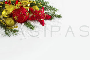 Christmas Background with Golden Beads and Fir Branches Graphic By TasiPas