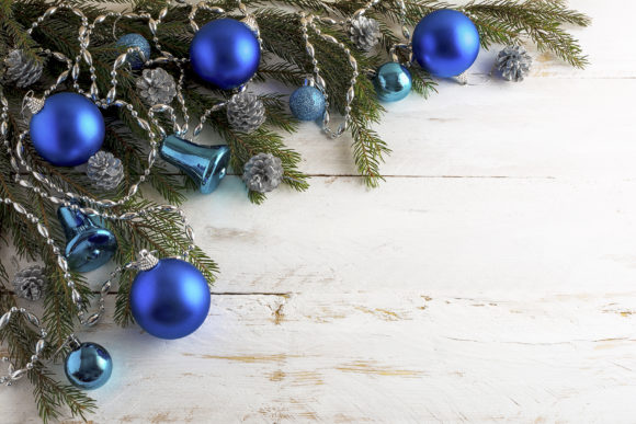 Christmas Background with Silver Pine Cone and Blue Ornaments Graphic By TasiPas Image 1