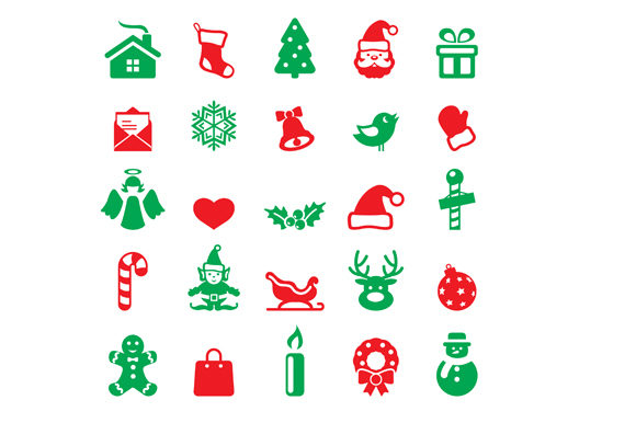 Print on Demand: Christmas Cute Icon Set Graphic Icons By GoldenFlower