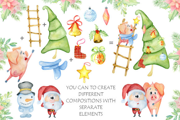 Download Free Christmas Cute Pigs Collection Grafico Por Evgeniiasart for Cricut Explore, Silhouette and other cutting machines.