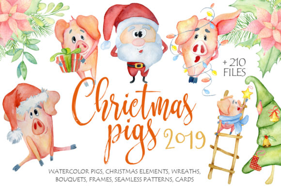 Christmas Cute Pigs Collection Graphic Illustrations By EvgeniiasArt