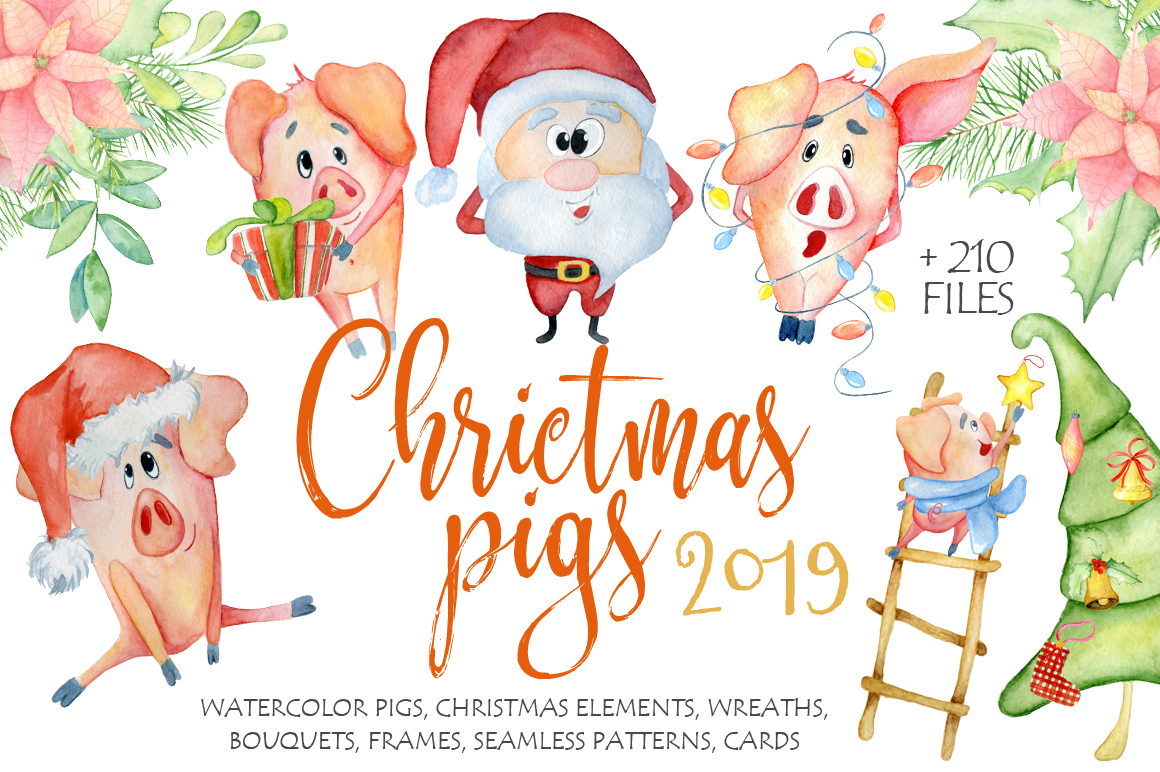 Download Free Christmas Cute Pigs Collection Graphic By Evgeniiasart for Cricut Explore, Silhouette and other cutting machines.
