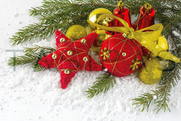 Christmas Red and Gold Balls Graphic By TasiPas