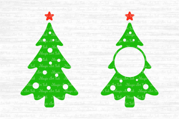 Download Free Christmas Tree Monogram Svg Graphic By Magicartlab Creative for Cricut Explore, Silhouette and other cutting machines.
