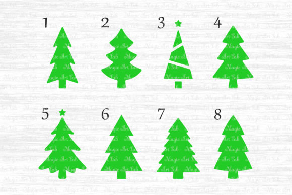 Download Free Christmas Trees Bundle Graphic By Magicartlab Creative Fabrica for Cricut Explore, Silhouette and other cutting machines.