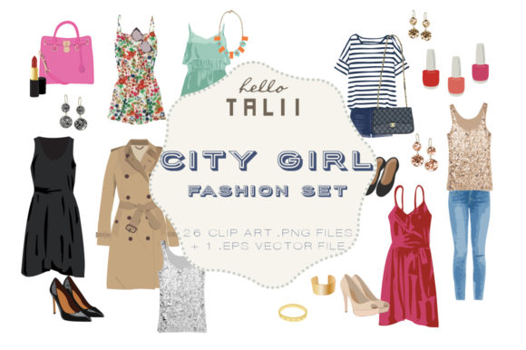City Girl Fashion Clip Art Graphic Illustrations By Hello Talii