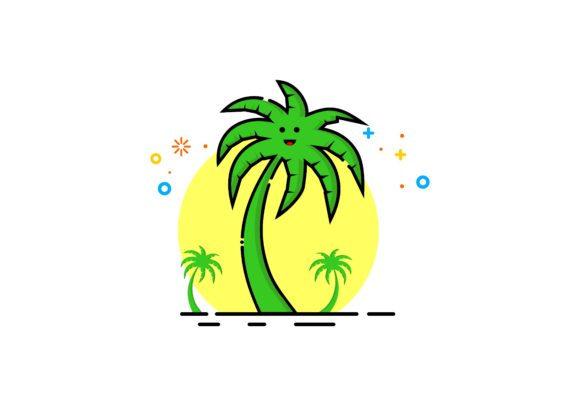 Download Free Coconut Tree Logo Mbe Style Graphic By Deemka Studio Creative for Cricut Explore, Silhouette and other cutting machines.
