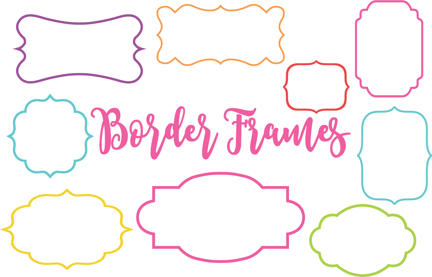 Download Free Colorful Border Frame Shapes Graphic By Sonyadehart Creative for Cricut Explore, Silhouette and other cutting machines.