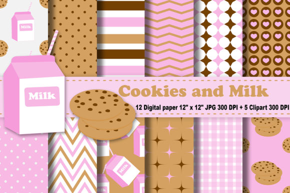 Download Free Cookies And Milk Digital Paper Graphic By Cosmosfineart for Cricut Explore, Silhouette and other cutting machines.