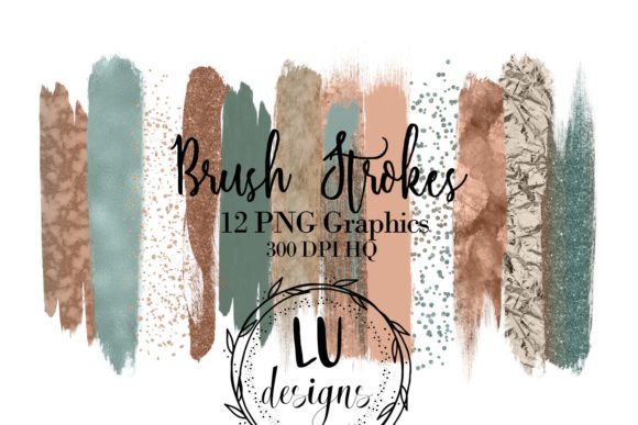 Copper and Green Glitter Watercolor Brush Strokes Grafik Objekte von Lu Designs