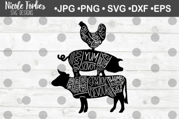 Download Free Cow Pig Chicken Tasty Words Svg Graphic By Nicole Forbes Designs for Cricut Explore, Silhouette and other cutting machines.