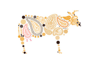 Cow Made out of Paisly Patterns Paisley Craft Cut File By Creative Fabrica Crafts