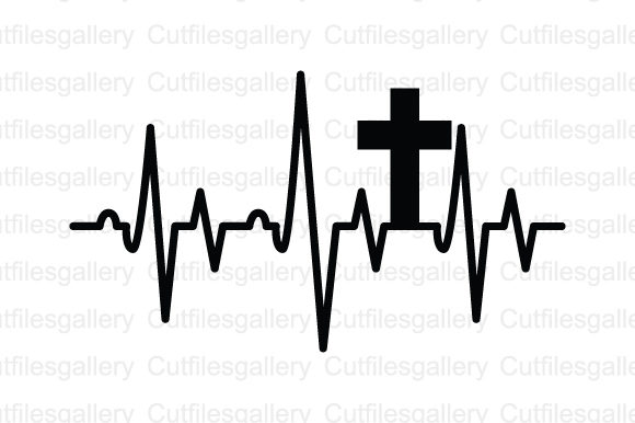 Download Free Cross Heartbeat Graphic By Cutfilesgallery Creative Fabrica for Cricut Explore, Silhouette and other cutting machines.