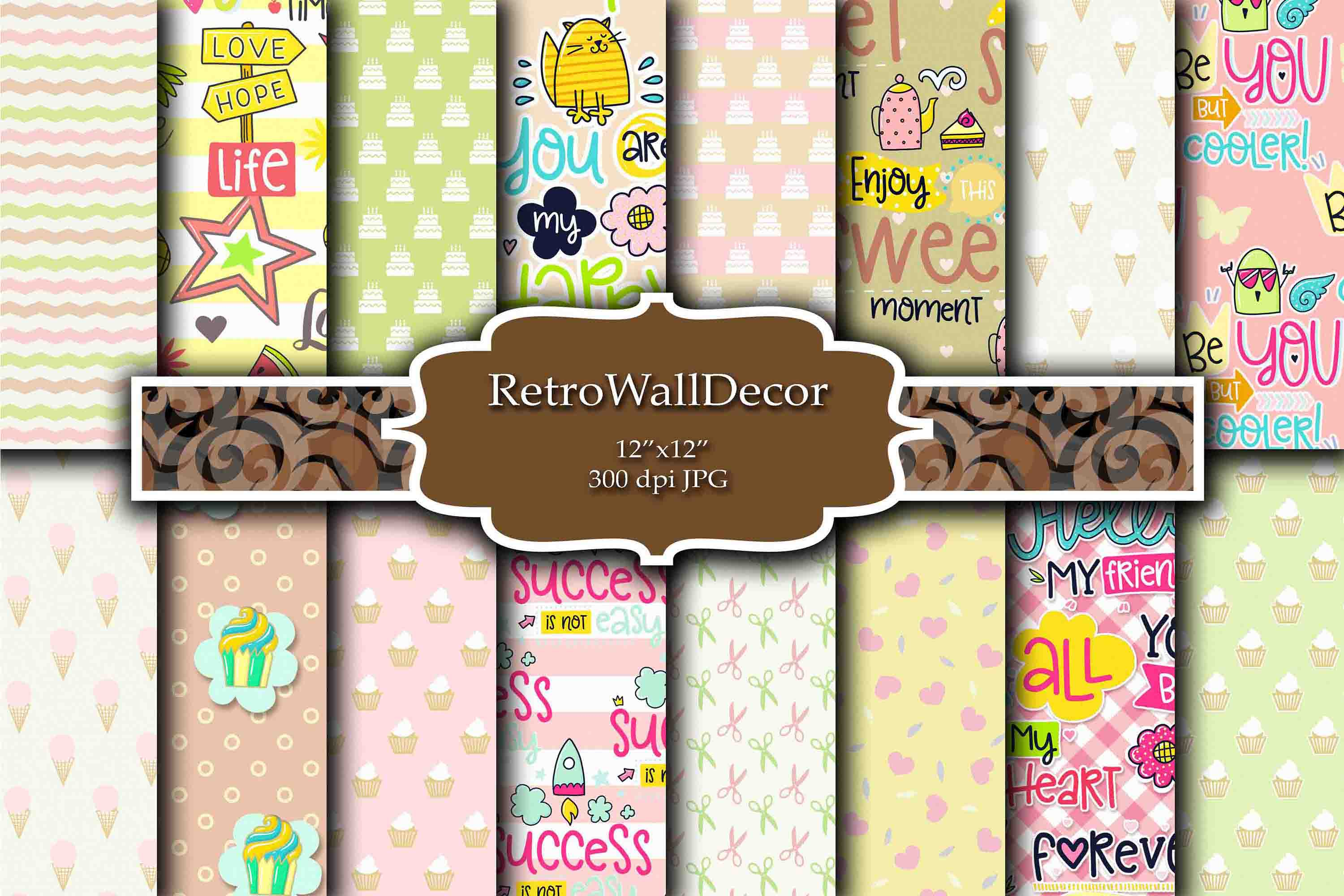 Download Free Cupcake Digital Papers Graphic By Retrowalldecor Creative Fabrica for Cricut Explore, Silhouette and other cutting machines.