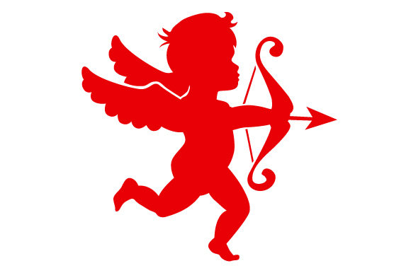 Cupid Flying and Aiming His Arrow in Red Valentine's Day Craft Cut File By Creative Fabrica Crafts