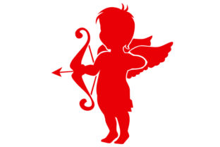 Cupid Flying and Aiming His Arrow in Red Craft Design By Creative Fabrica Crafts