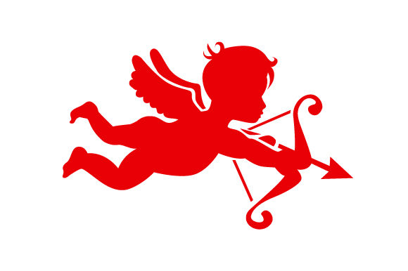 Cupid Flying and Aiming His Arrow in Red San Valentín Archivo de Corte Craft Por Creative Fabrica Crafts