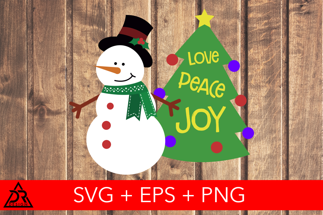 Download Free Cute Snowman And Xmas Tree Graphic By Davidrockdesign Creative for Cricut Explore, Silhouette and other cutting machines.