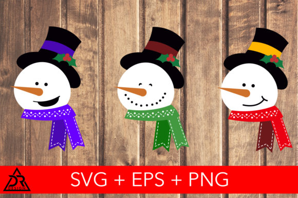 Print on Demand: Cute Snowman Heads Graphic Illustrations By davidrockdesign