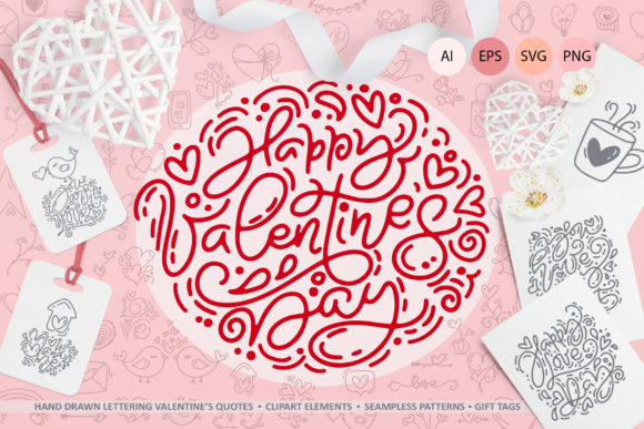Download Free Cute Valentines Elements Graphic By Happy Letters Creative Fabrica for Cricut Explore, Silhouette and other cutting machines.
