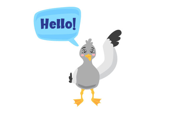 Download Free Cute Seagull Waving His Wing Saying Hello Svg Cut File By for Cricut Explore, Silhouette and other cutting machines.