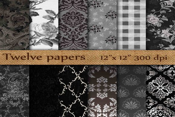 Damask Digital Paper Graphic Backgrounds By twelvepapers