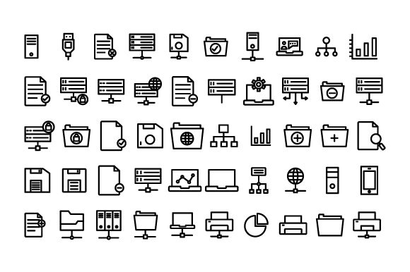 Download Free Data Science Set Outline Icon Graphic By Rudezstudio Creative for Cricut Explore, Silhouette and other cutting machines.